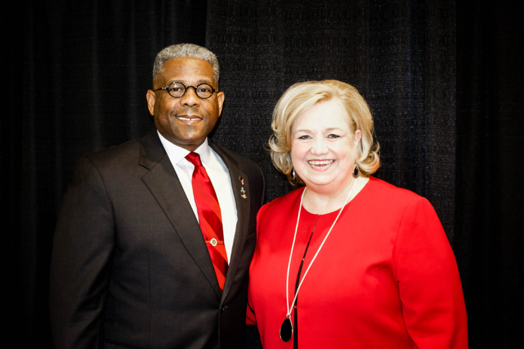 Karen Bowling, Executive Director of Nebraska Family Alliance poses for a photo with Allen West.