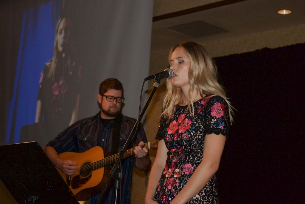 Hannah Huston singing at the 2016 Fall Banquet.